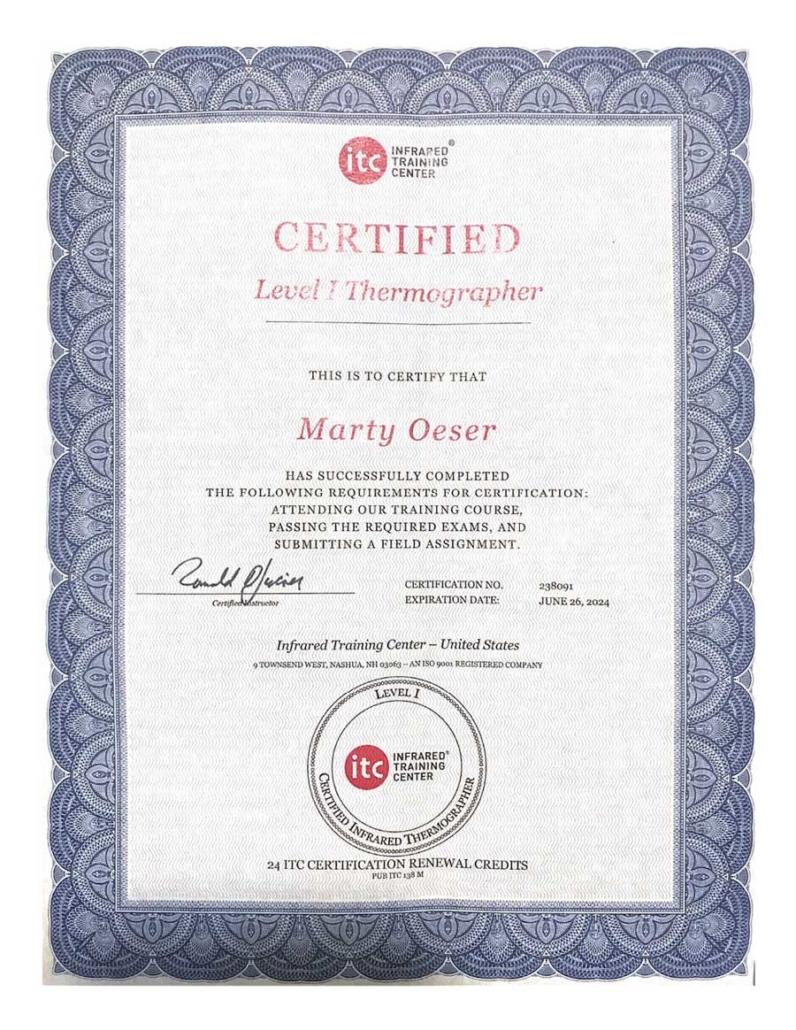 Level-I-Thermographer-Certification-for-Marty-Oeser